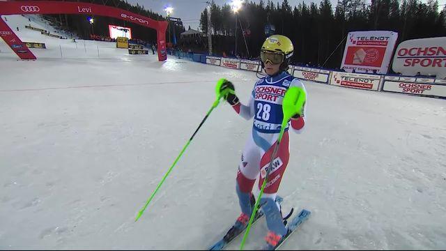 Levi (FIN), Slalom dames, 2e manche: le passage de Carole Bissig (SUI) [RTS]