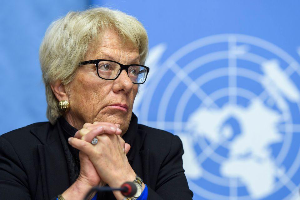 Carla Del Ponte, en mars 2017 aux Nations Unies à Genève. [MARTIAL TREZZINI - KEYSTONE]
