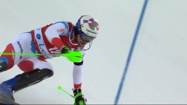 Levi (FIN), Slalom messieurs, 1re manche: le passage de Luca Aerni (SUI) [RTS]