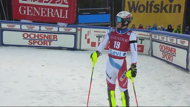 Levi (FIN), Slalom messieurs, 1re manche: Loïc Meillard (SUI) à +1.72 [RTS]