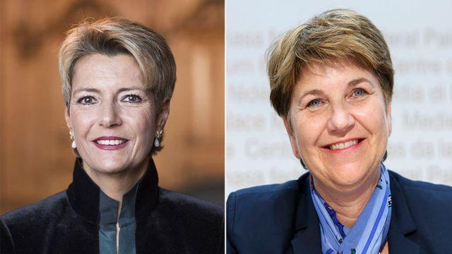 Tout semble indiquer que Karine Keller-Sutter (PLR) et Viola Amherd (PDC) succéderont à Johann Schneider-Ammann et de Doris Leuthard. [Keystone]