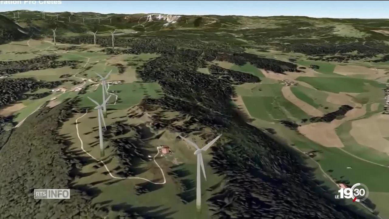 Le Tribunal Cantonal donne son feu vert aus éoliennes de Sainte-Croix. Un projet contesté pour son atteinte à l'environnement. [RTS]