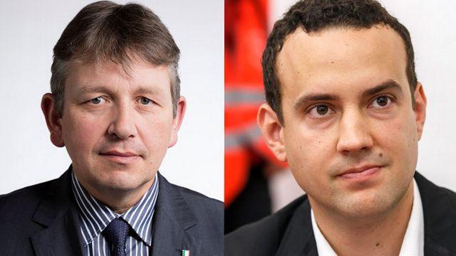 Raymond Clottu. conseiller national (UDC/NE) et Romain de Sainte Marie, député socialiste au grand Conseil genevois.