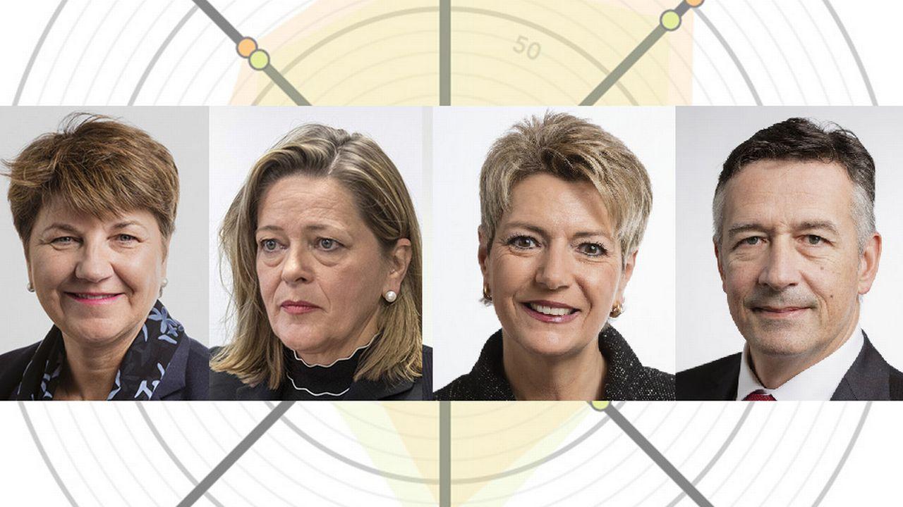 Les quatre candidats au Conseil fédéral Viola Amherd, Heidi Z'graggen, Karin Keller-Sutter et Hans Wicki. [Keystone]
