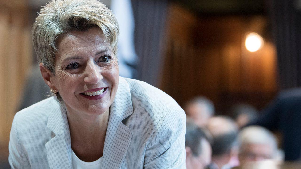 La Saint-Galloise Karin Keller-Sutter, favorite pour succéder à Johann Schneider-Ammann au Conseil fédéral. [Peter Schneider - KEYSTONE]