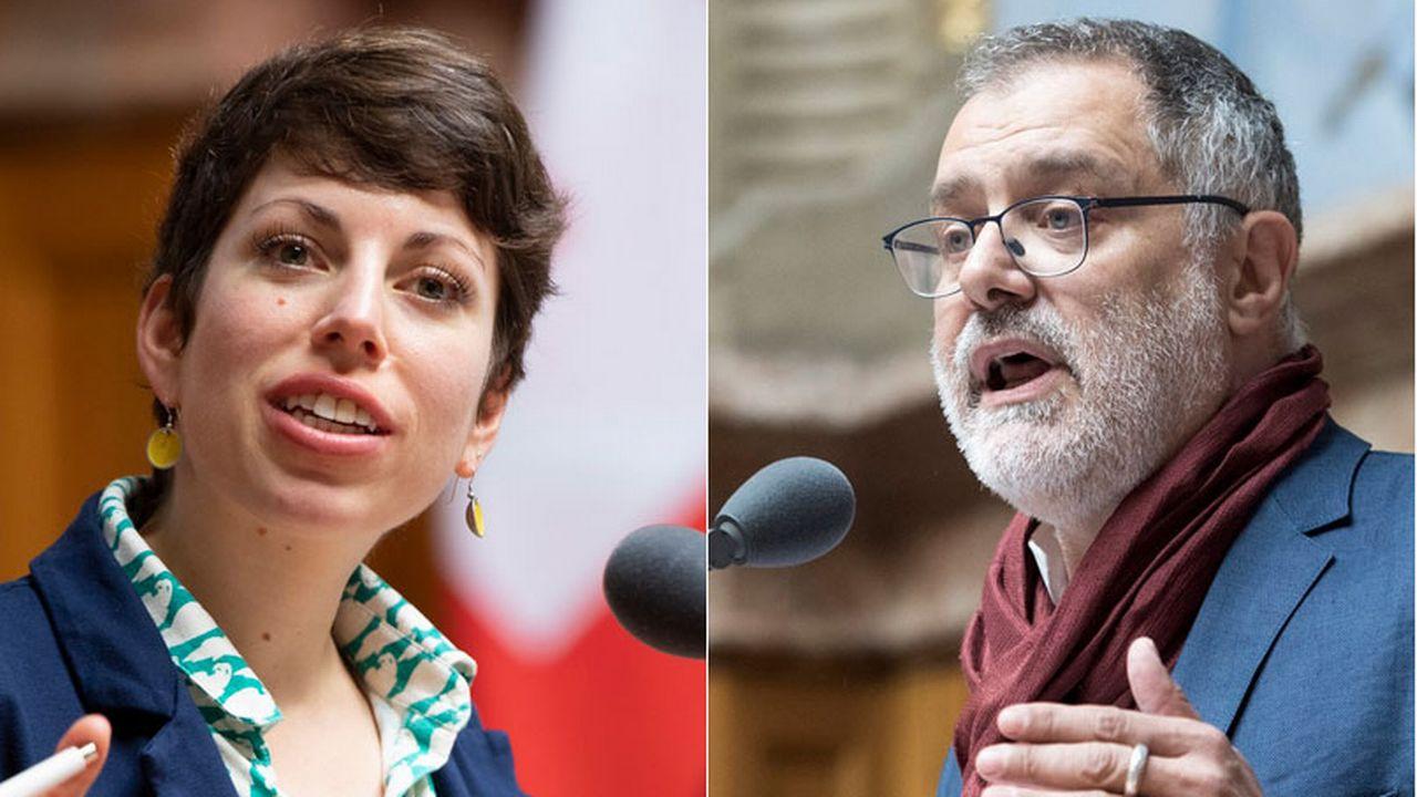 Lisa Mazzone (Verts) et Carlo Sommaruga (PS) briguent un siège aux Etats. [Keystone]
