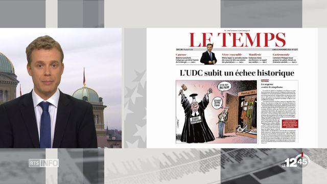 Votations du 25 novembre : la revue de presse de Rouven Gueissaz [RTS]