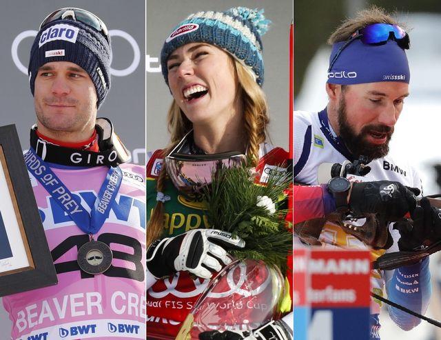 Le top-3 du week-end: Thomas Tumler, Mikaela Shiffrin et l'équipe de biathlon. [John G. Mabanglo/D.Bandic/A.Bat - Keystone]