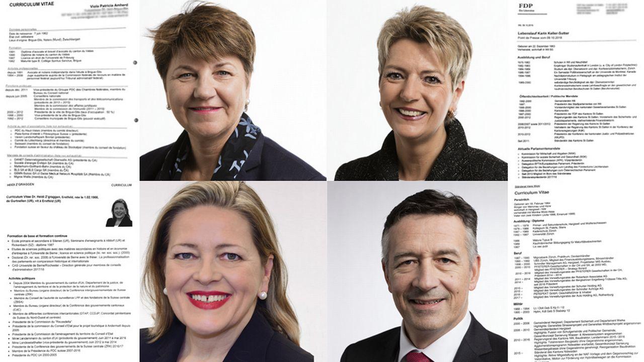 Les CV des candidats au Conseil fédéral. [Keystone/RTS]