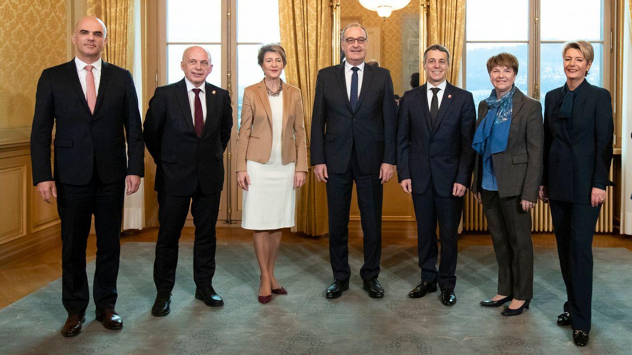 La nouvelle composition du Conseil fédéral, photographié le 5 décembre 2018. [Peter Klaunzer - Keystone]