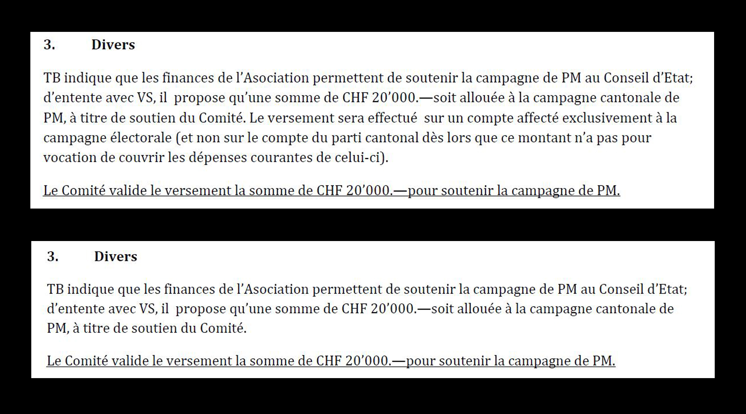 Les deux versions du PV du 2 avril 2012.