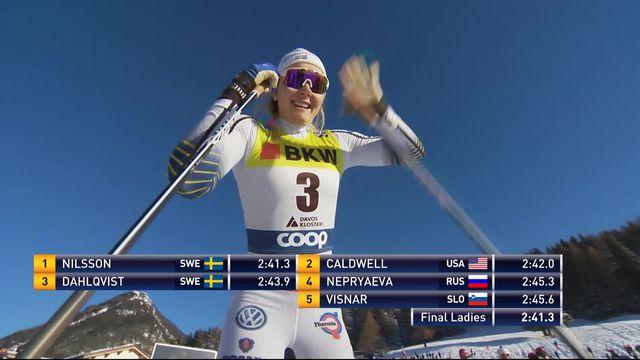 Davos (SUI), final du sprint dames: victoire de Nilsson (SUE) devant  Caldwell (USA) 2e et Dahlqvist (SUE) 3e [RTS]
