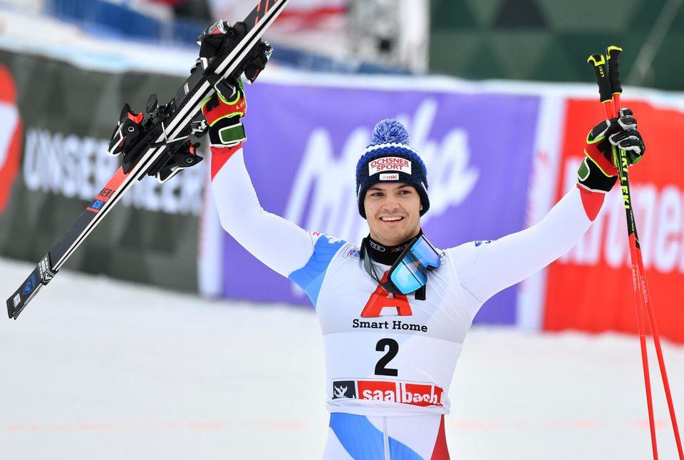 Loïc Meillard tient son premier podium en Coupe du monde. [Barbara Gindl - Keystone]