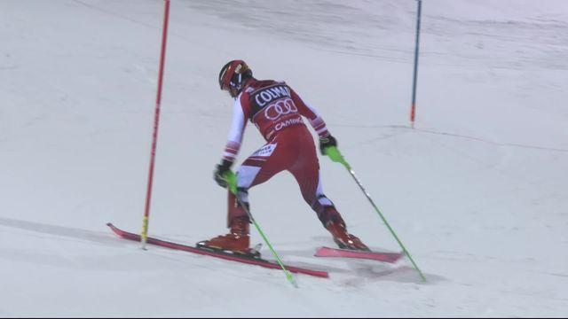 Madonna di Campiglio (ITA), slalom messieurs, 2e manche: Marcel Hirscher (AUT) part à la faute et offre la victoire à Daniel Yule! [RTS]