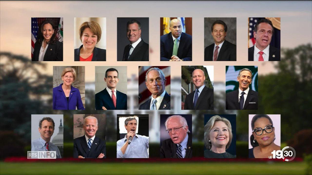 Primaires démocrates aux Etats-Unis: il y a pléthore de candidats potentiels mais aucun ne s'impose encore face à Donald Trump. [RTS]