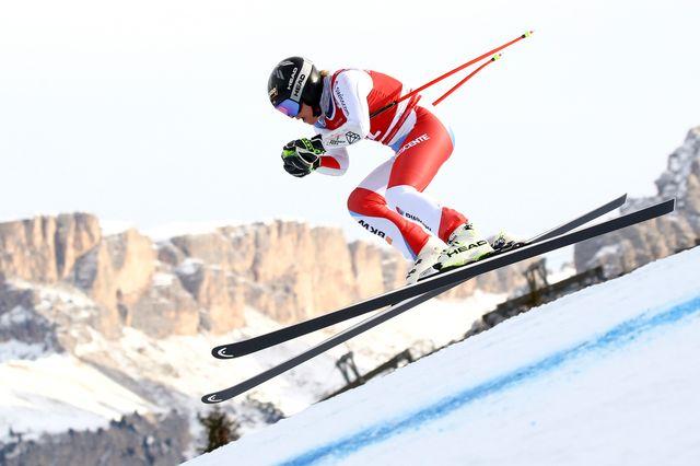 Lara Gut-Behrami lors de l'entraînement de la descente de Val Gardena. [Alessandro Trovati - AP/Keystone]