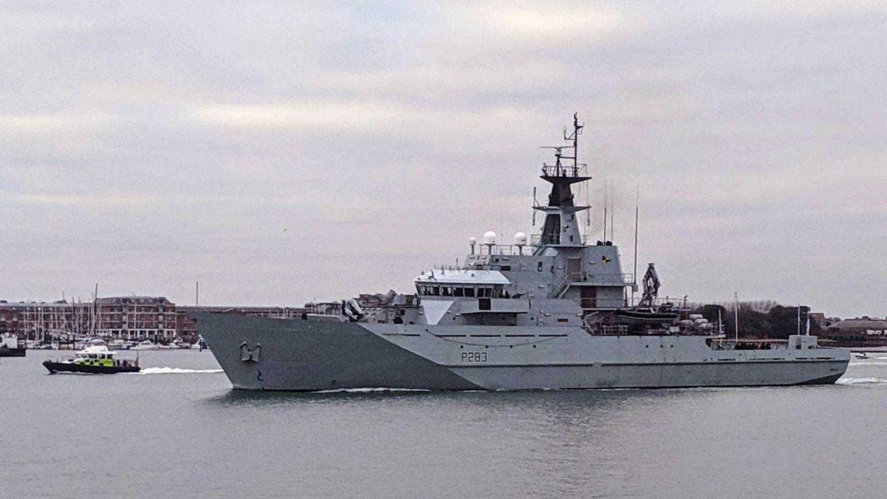 Le HMS Mersey va être déployé dans le détroit du Pas-de-Calais.  [CROWN COPYRIGHT 2019 / MOD / CHARLIE DARLINGTON  - AFP]