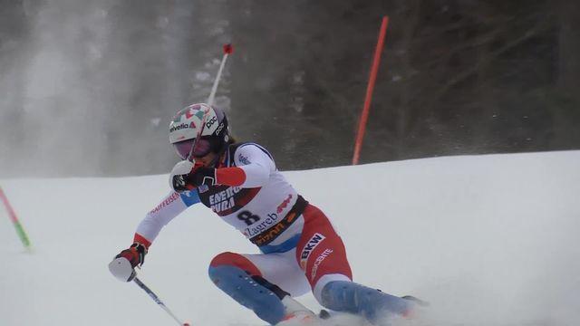 Zagreb (CRO), slalom dames, 1re manche: Michelle Gisin (SUI) [RTS]