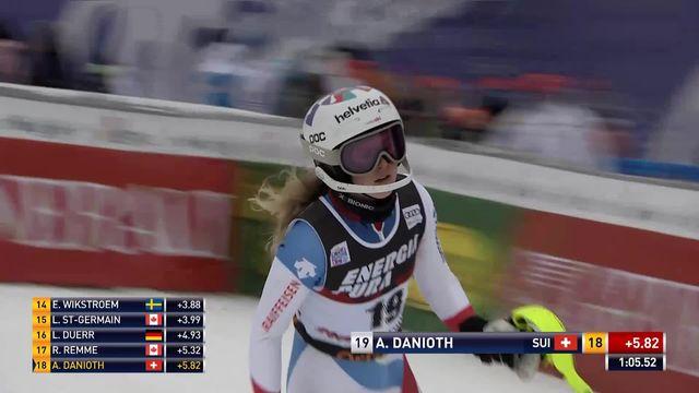 Zagreb (CRO), slalom dames, 1re manche: Aline Danioth (SUI) [RTS]