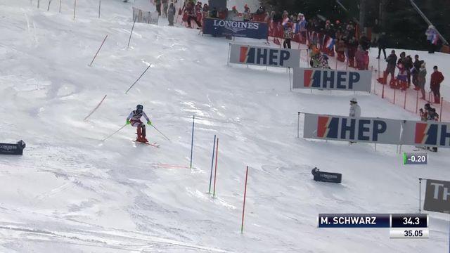 Zagreb (CRO), slalom messieurs 1re manche: Marco Schwarz (AUT) prend la tête de la course [RTS]