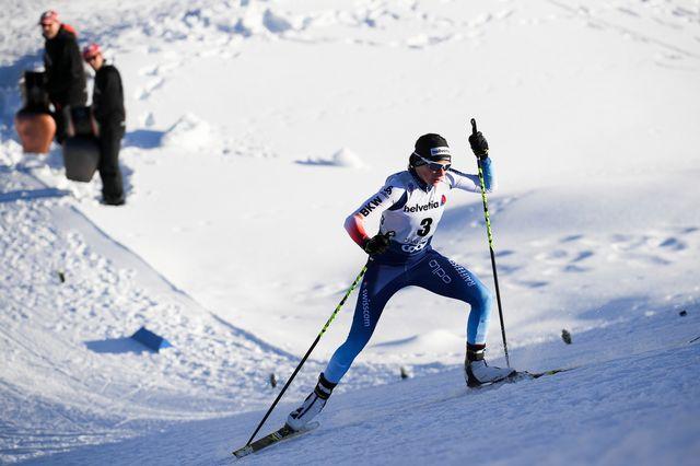 Nathalie von Siebenthal a dû cravacher dans la terrible montée de l'Alpe Cermis. [Gian Ehrenzeller - Keystone]