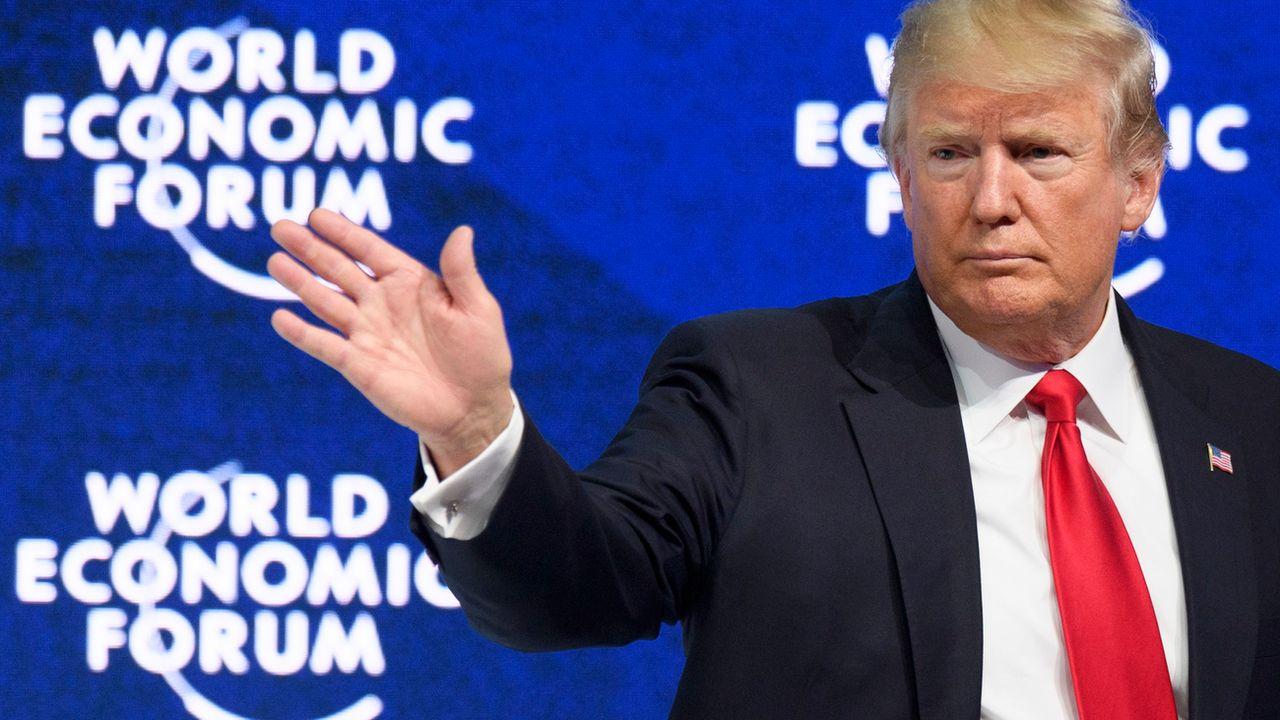 Donald Trump lors du Forum économique de Davos le 26 janvier 2018. [Laurent Gillieron - Keystone]