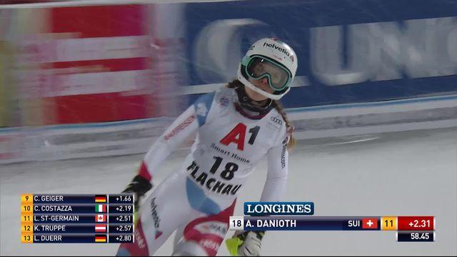 Flachau (AUT), slalom dames, 1re manche: Aline Danioth (SUI) termine 11e provisoire [RTS]