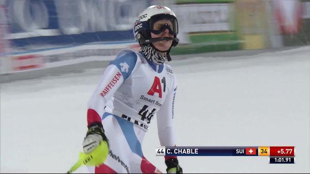 Flachau (AUT), slalom dames, 1re manche: le passage de Charlotte Chable (SUI) [RTS]