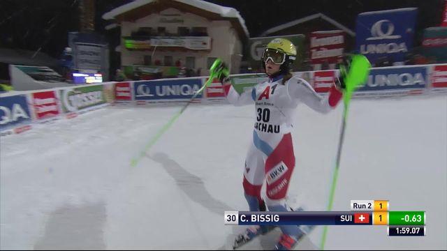 Flachau (AUT), slalom dames, 2e manche: le passage de Carole Bissig (SUI) [RTS]