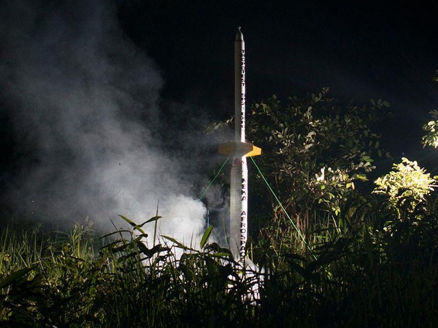 Lancement d'une fusée d'essai Tropotest, dans le cadre du programme spatial de la République démocratique du Congo (RDC).