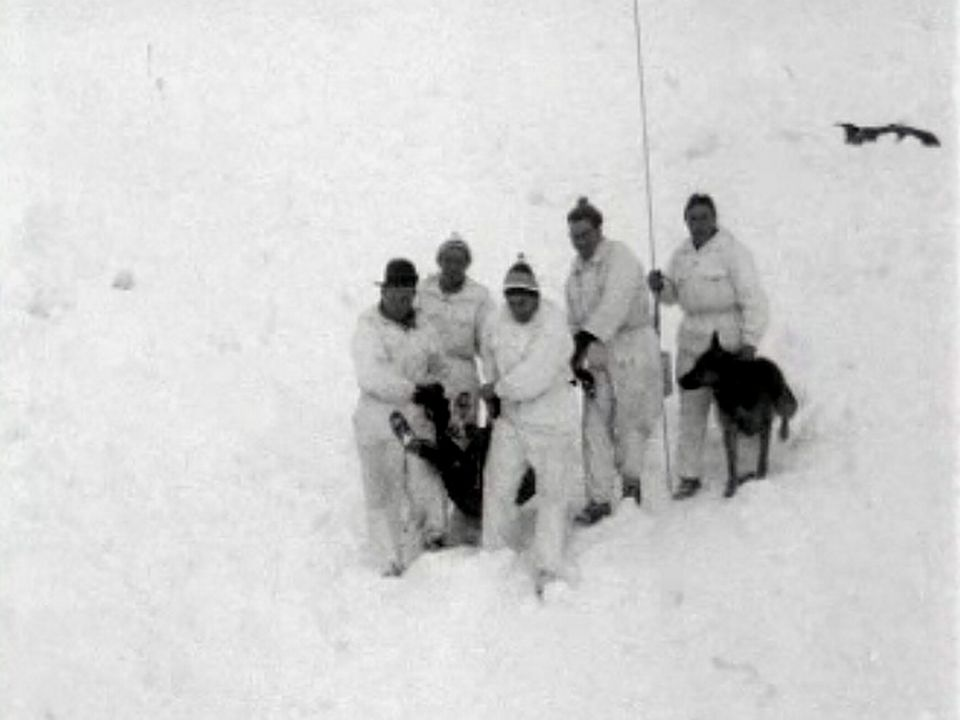 En Valais, les chiens sont entraînés à rechercher les victimes. [RTS]