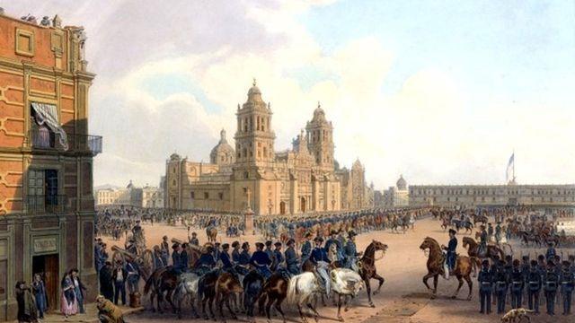 Prise de Mexico par les troupes américaines durant la guerre américano-mexicaine (peinture de Carl Nebel)