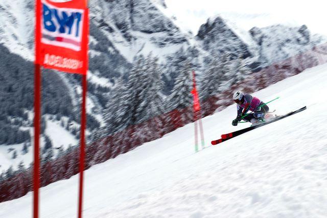 Henrik Kristoffersen lors de la première manche du géant d'Adelboden. [Gabriele Facciotti - AP Photo/Keystone]