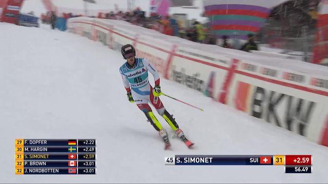 Adelboden (SUI), slalom messieurs 1re manche: Sandro Simonet (SUI) [RTS]