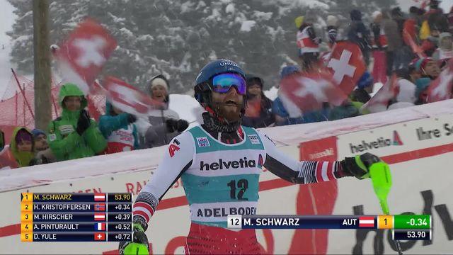 Adelboden (SUI), slalom messieurs 1re manche: Marco Schwarz (AUT) [RTS]