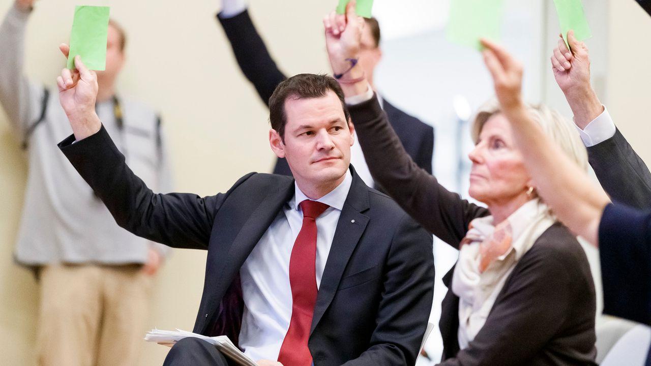 Le conseiller d'Etat Pierre Maudet lors de l'Assemblée des délégués du PLR genevois, le 6 décembre 2018 à Genève. [Cyril Zingaro - Keystone]