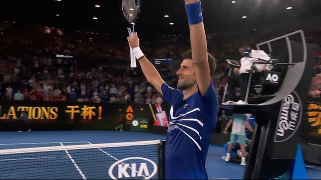 2e tour, N. Djokovic (SRB) bat J.W. Tsonga (FRA) 6-3 7-5 6-4: Djokovic se qualifie en trois manches pour le 3e tour [RTS]