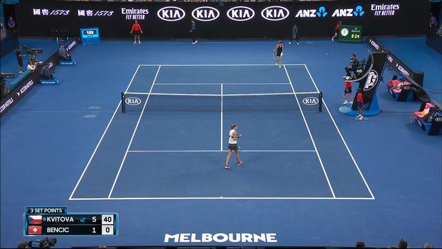 3e tour, P.Kvitova (CZE) – B. Bencic (SUI) 6-1: Kvitova remporte le premier set en 25 minutes [RTS]
