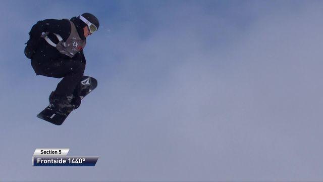 Laax (SUI), snowboard slopestyle messieurs: Moritz Thoenen (SUI) sur la troisième marche du podium [RTS]
