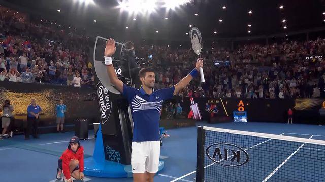 8e, N. Djokovic (SRB) – D. Medvedev (RUS) 6-4 6-7 6-2 6-3: le numéro 1 mondial s'impose en trois manches [RTS]