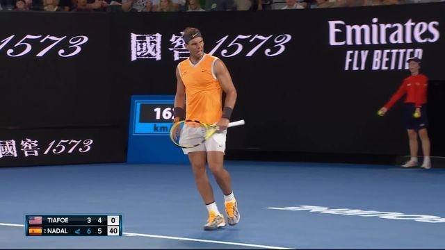 1-4 de finale, F. Tiafoe (USA) - R. Nadal (ESP) 3-6 4-6: deuxième set en faveur du numéro 2 mondial [RTS]