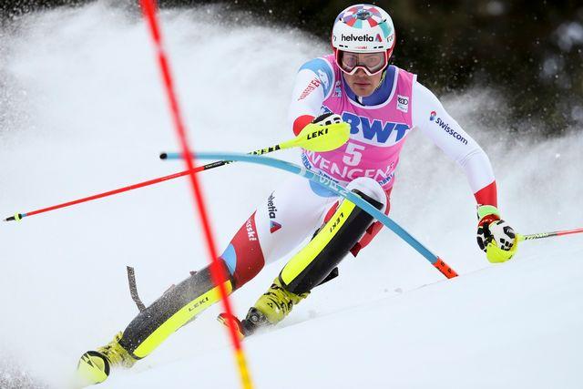 Daniel Yule en embuscade après la première manche du slalom de Wengen. [Shinichiro Tanaka - AP Photo/Keystone]