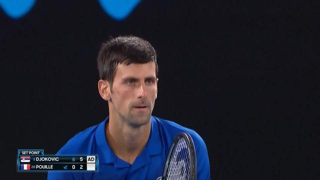 1-2 finale, N. Djokovic (SRB) – L. Pouille (FRA) 6-0 6-2: le numéro 1 mondial mène deux manches à rien après moins d'une heure de jeu [RTS]
