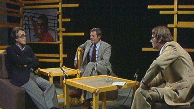 Michel Legrand et et Marcello Mastroianni sur le plateau de Spécial cinéma en 1976. [RTS]