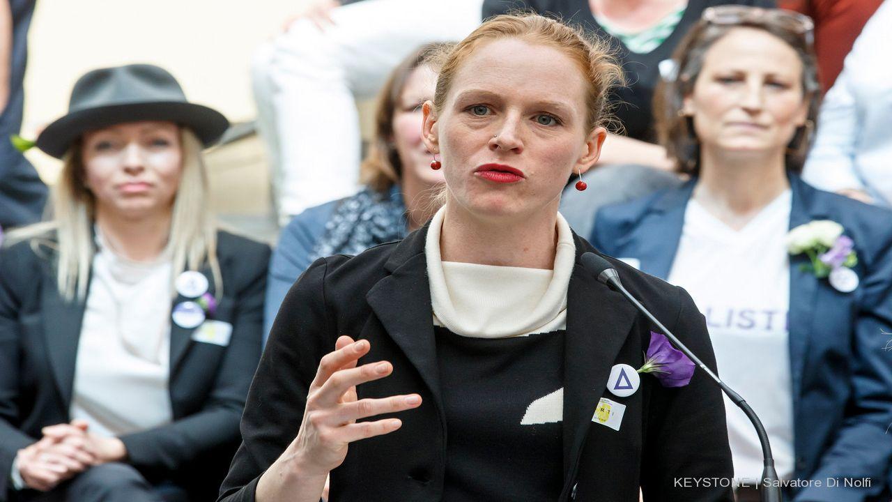 Manuela Honegger, membre du comité d'organisation de la grève des femmes. [Salvatore Di Nolfi - Keystone]