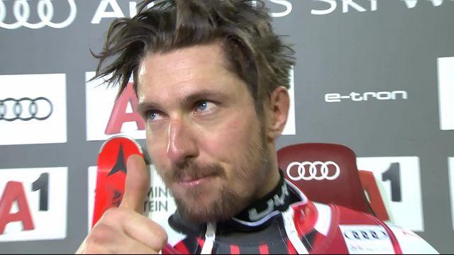 Schladming (AUT), slalom messieurs 1re manche: Hirscher (AUT) en tête après la première manche [RTS]