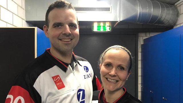 Anna et Marc Wiegand, en couple à la vie et à la patinoire. [Twitter - @SwissIceHockey]