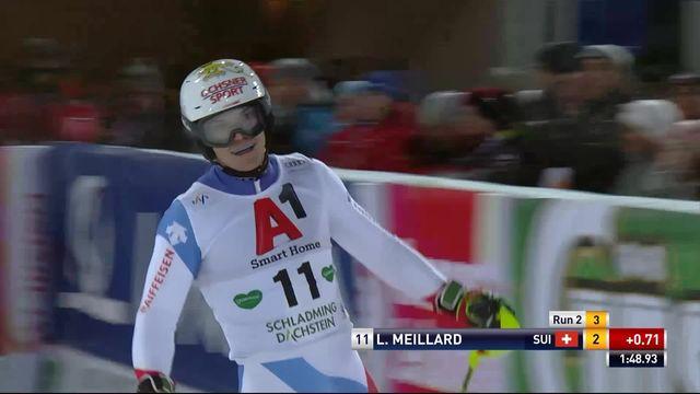 Schladming (AUT), slalom messieurs 2e manche: le passage de Loic Meillard (SUI) [RTS]