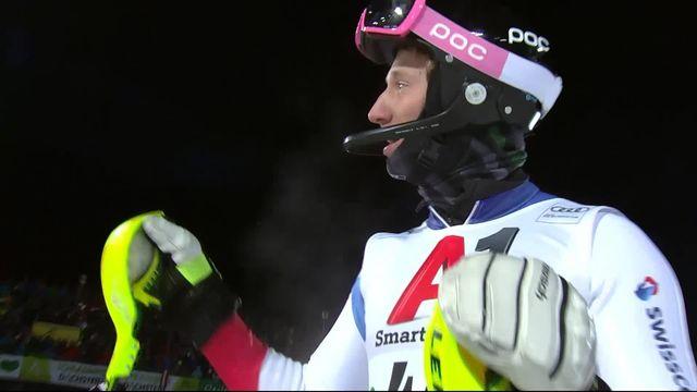 Schladming (AUT), slalom messieurs 2e manche: le passage de Tanguy Nef (SUI) [RTS]