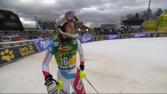 Maribor (SLO), slalom dames, 1re manche: Aline Danioth (SUI) [RTS]